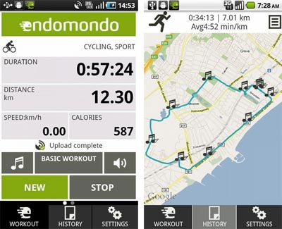 Screenshot of Endomondo mobile app