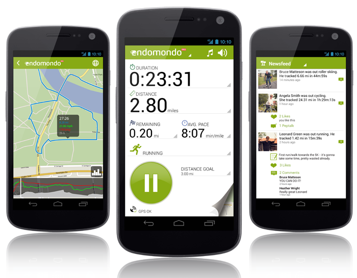 Several endomondo screens