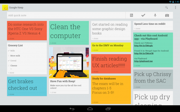Google Keep app desktop example