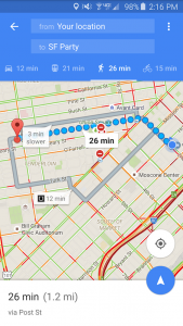 Google maps walking route